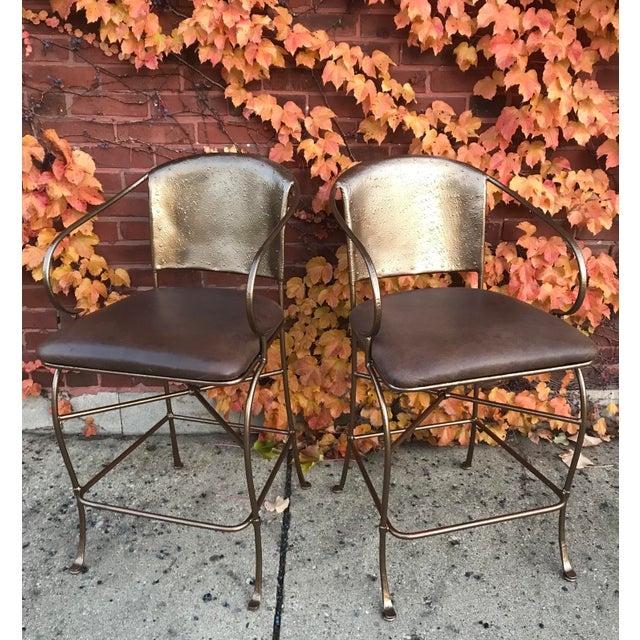 Vintage Bronze Bar Stools - a Pair - Image 5 of 6