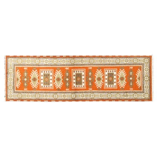 Apadana Orange and Beige Kazak Runner -  3' x 7'