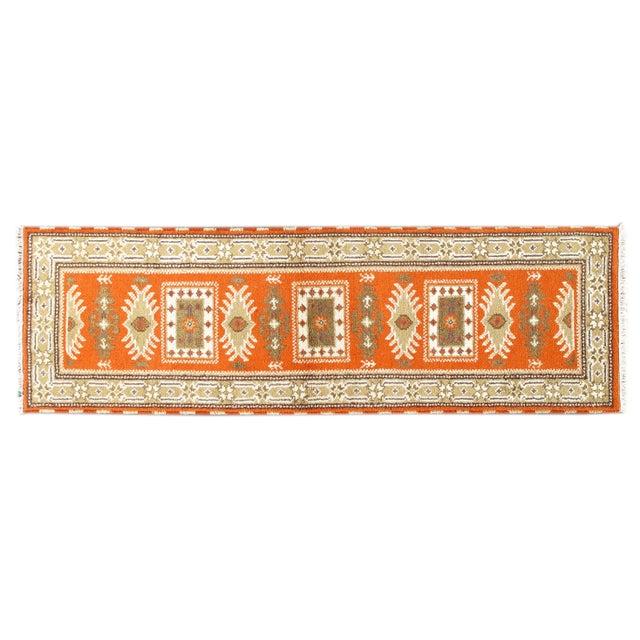 Image of Apadana Orange and Beige Kazak Runner - 3' x 7'