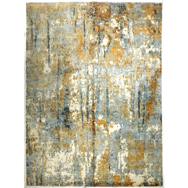"Modern Pixelated Bamboo Silk Rug - 9' X 12'1"" - Image 1 of 3"