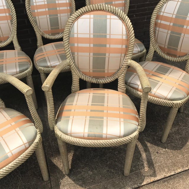Vintage Carved Rope Dining Chairs - Set of 8 - Image 9 of 10