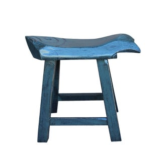 Oriental Handmade Rustic Distressed Gray Fish Shape Wood Stool
