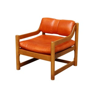 Mid Century Orange Leather Chair by Paoli Chair Company
