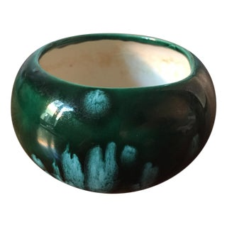 Vintage Green & Turquoise Ceramic Handmade Bowl