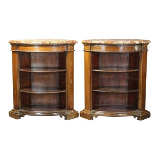 Mahogany Bowfront Bookcase Cabinets - a Pair