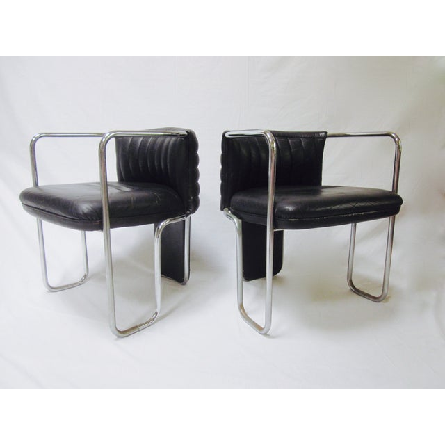 Image of Poltrona Frau Leather Chairs- A Pair