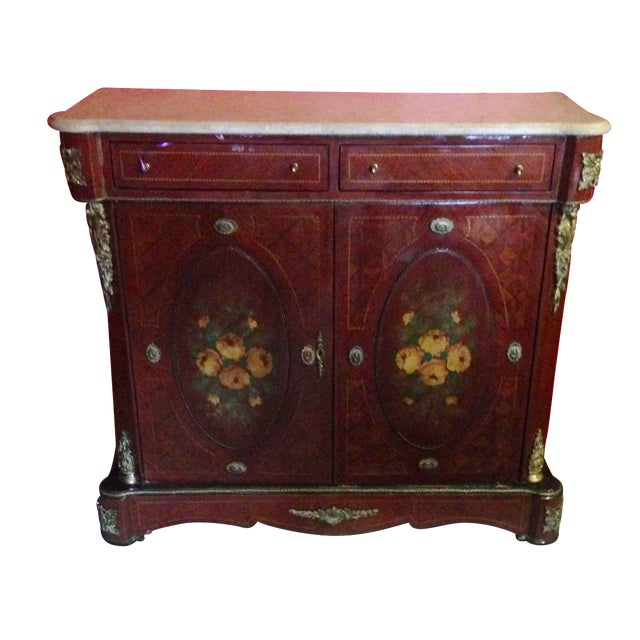 Hand Painted French Server With Beveled Marble Chairish