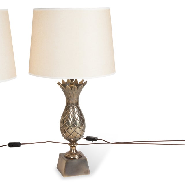 brass pineapple table lamps a pair chairish. Black Bedroom Furniture Sets. Home Design Ideas