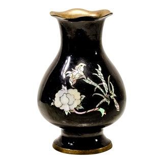 Vintage Black Vase With Mother of Pearl Floral Detail