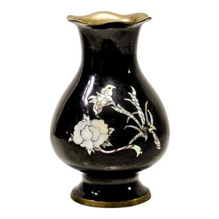 Vintage Black Vase With Mother of Pearl Floral Detail