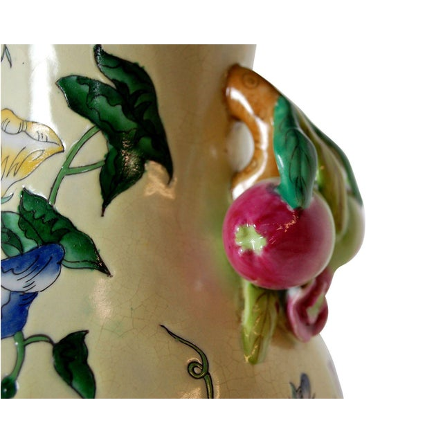 Traditional Floral Pottery Lamp with Fruit Handles - Image 2 of 4