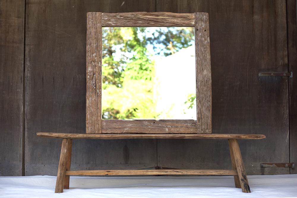 teak mirror repurposed railroad ties chairish