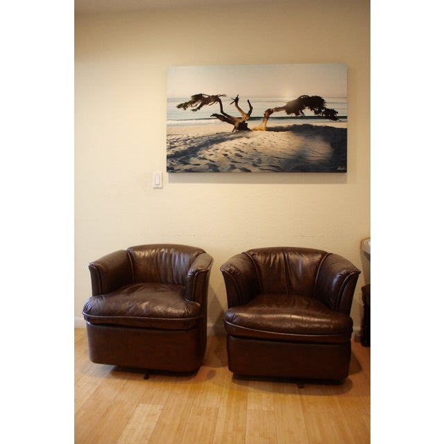 Collected Leather Barrel Back Chairs - A Pair - Image 3 of 8