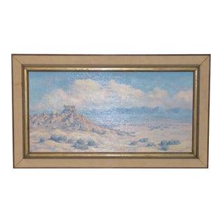 Western Desert Landscape Oil Painting by F.W, Chapman c.1930s