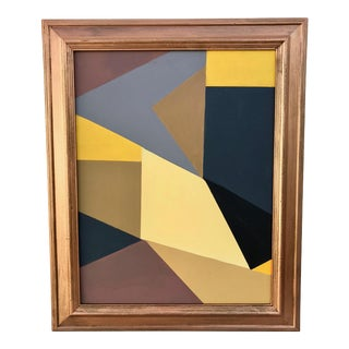Original Abstract Gray & Yellow Painting
