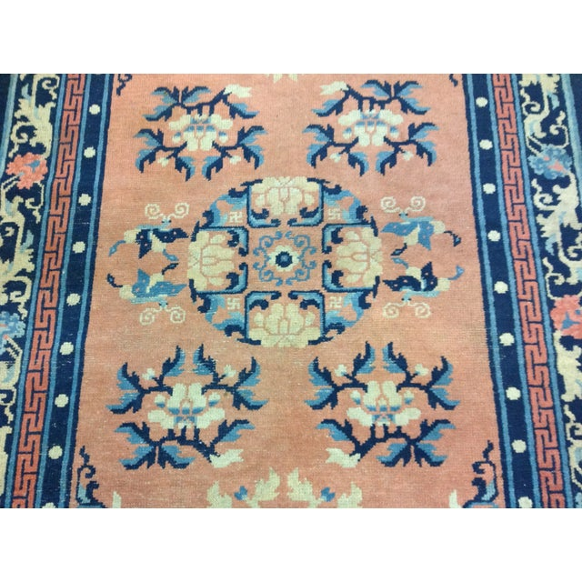 """Art Deco Navy & Coral Chinese Rug - 4'3"""" X 6'3"""" - Image 5 of 6"""