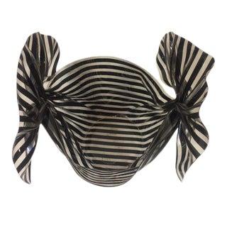 "French Black & White Stripe ""Bow"" Lucite Bowl"