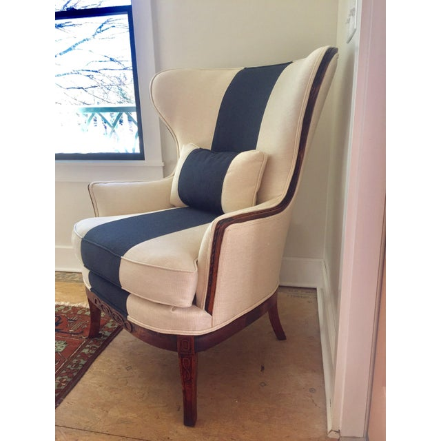 Fanback Chair With Navy Stripe