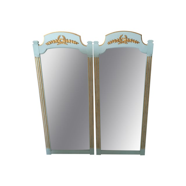 Hollywood Regency Mint Turquoise Gilt Mirrors-Pair - Image 1 of 5