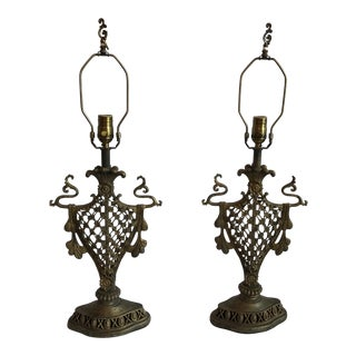 Pair of Victorian Castle Steel Table Lamps