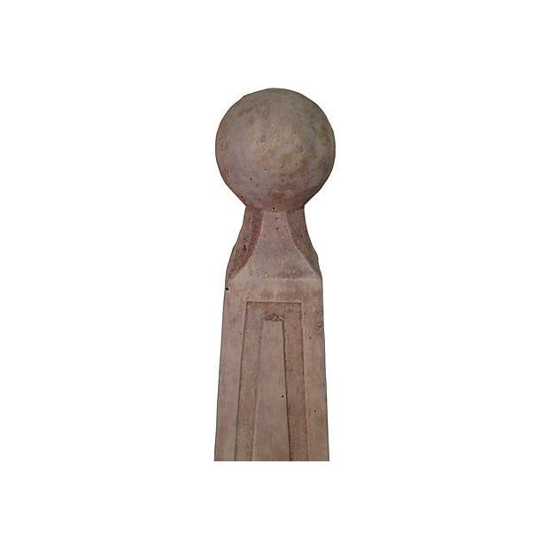 Image of Vintage Custom Gray Concrete Obelisks - A Pair