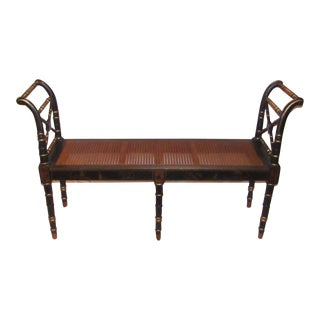 4-Foot Cane Seat Black Bench