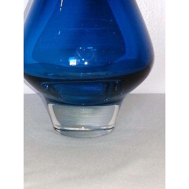 Mid-Century Modern Murano Style Blue Glass Vase - Image 4 of 11