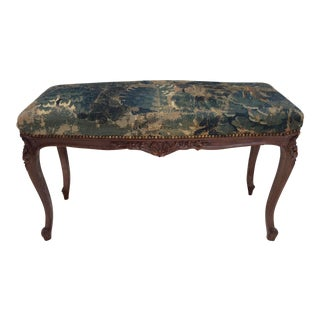 18th C Tapestry French Walnut Bench