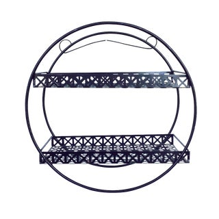 Mid-Century Black Wire & Mesh Circle Shelf