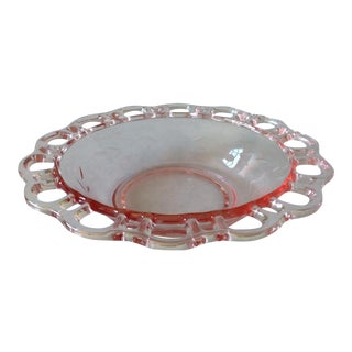 1930s Vintage Pink Glass Lace Edge Bowl