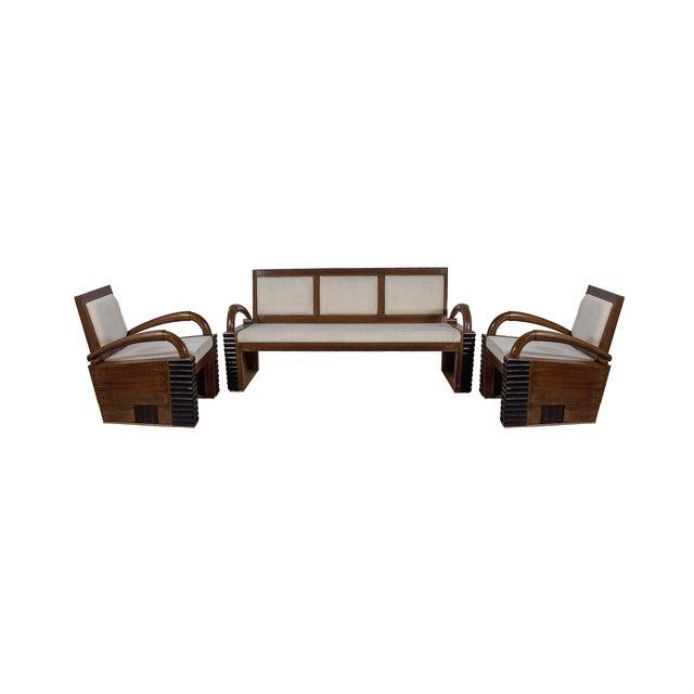 Teak Wood Handmade Art Deco Style Sofa Set - Image 1 of 2