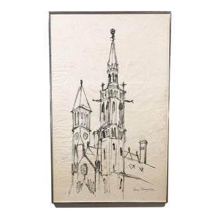 Large Mid Century Church Drawing