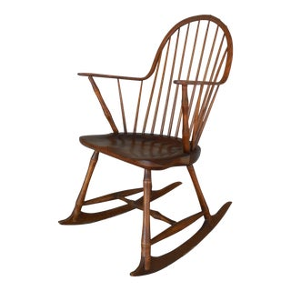 L E Partridge Windsor Style Hoop Back Faux Bamboo Leg Rocking Arm Chair
