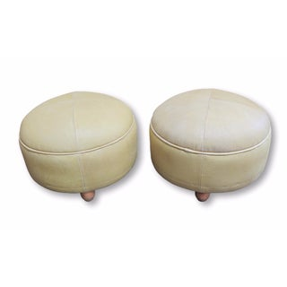 Pair of Butter Leather Foot Stools