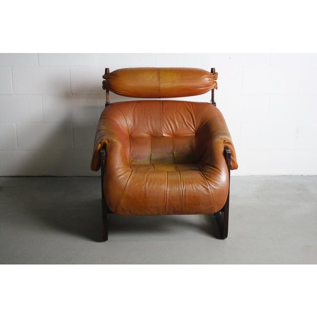 Percival Lafer Rosewood Tan Leather Lounge Chair - Image 7 of 11