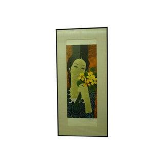 Vintage Mid-Century Signed Yves Ganne Flower Girl Print