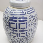 Image of Blue and White Patterned Jar