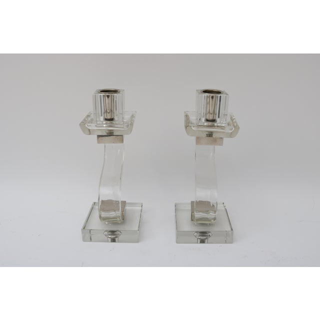 Polished Chrome Trim Candle Holders - A Pair - Image 6 of 9