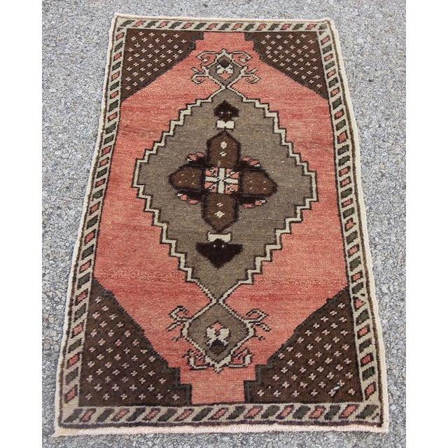 "Vintage Turkish Oushak Tribal Rug- 1'7"" x 2'10"" - Image 2 of 5"