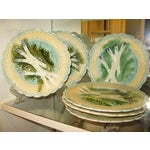 Image of Antique Majolica Asparagus Plates - Set of 8