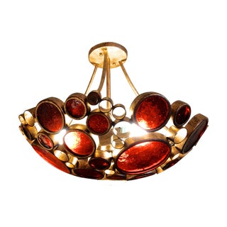 Ceiling Light with Recycled Amber Bottle Glass