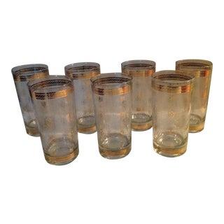 Vintage Gold Banded Glasses - Set of 7