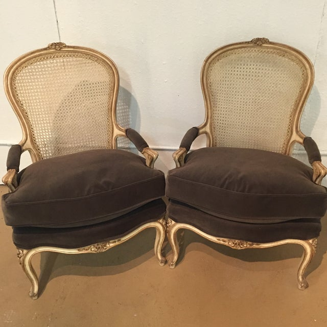 Image of Vintage French Bergere Chairs - A Pair