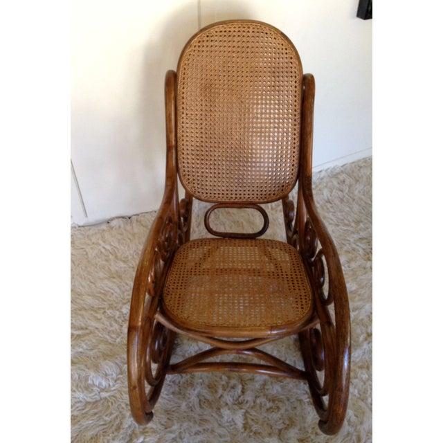 thonet bentwood style bamboo rocking chair chairish