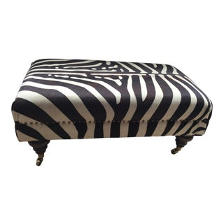 Zebra Hide Custom Ottoman With Nail Head Trim and Brass Castors