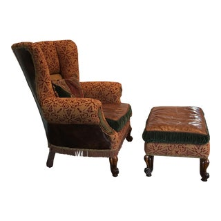 Mahogany Leather Wingback Chair & Ottoman