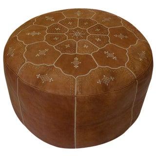 Moroccan Desert Tan Leather Pouf