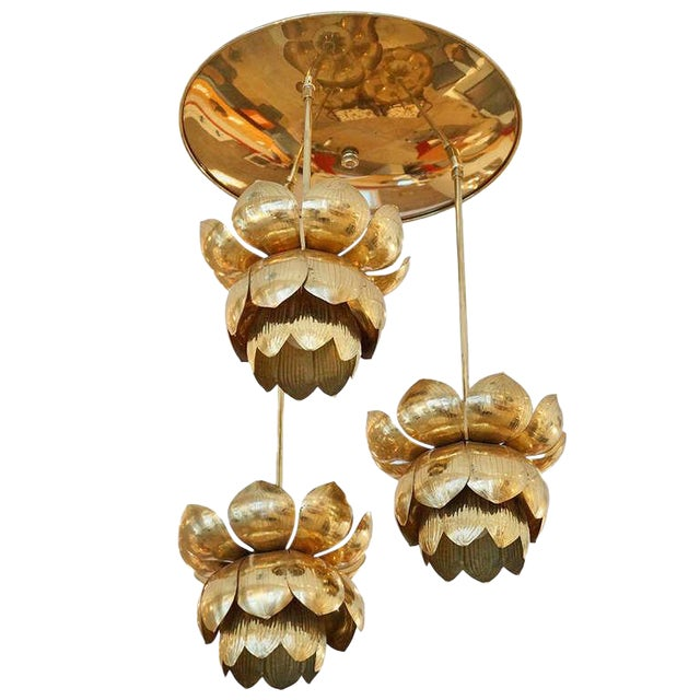 Triple Light Brass Lotus Pendant - Image 1 of 8