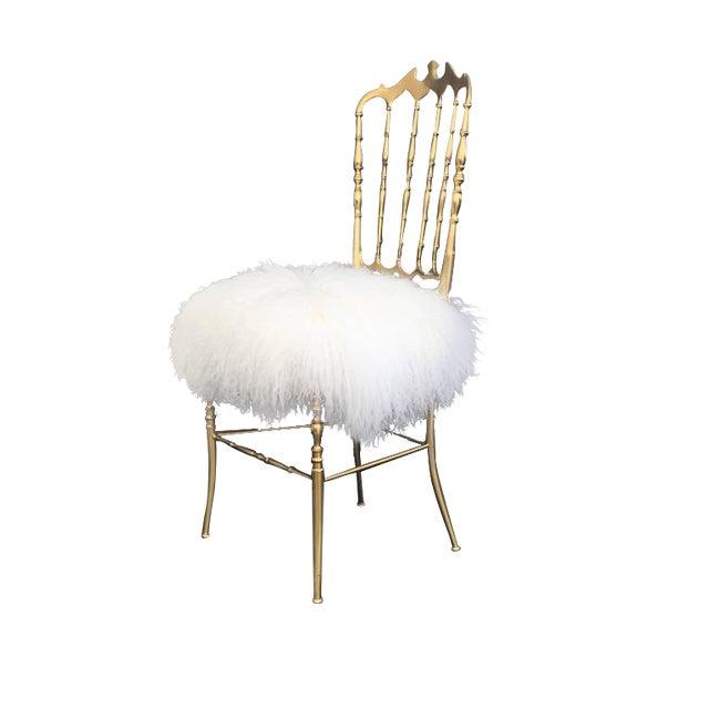 Italian Brass Chiavari Chair in Mongolian Fur - Image 1 of 10