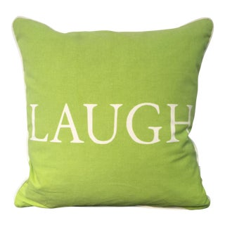 'Laugh' Green & White Decorative Pillow